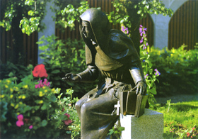 The statue of Blessed Theresa of Jesus Gerhardinger stands in the garden of the convent at the Dr. Johanna Decker School of the School Sisters of Notre Dame that Mother Theresa founded in Amberg, Bavaria in 1839.