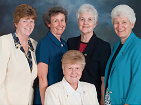 Back (L to R): Sisters Kathy Schmittgens, Carol Reeb, Pat Delaney, Celine Schumacher. Seated: Sister Joanne Hanrahan.