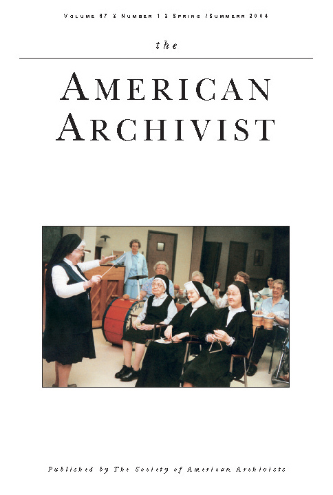 Cover of The Society of American Archivists - Summer 2004