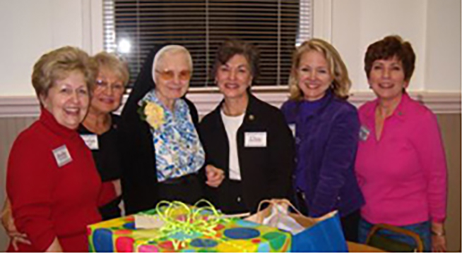 Participating in an Associate Retreat are left to right: Associates Jody Landry, Carolyn Jordan, Sister Clared Coyne, SSND, Associates Dee Cavalier, Cherie Bailey, and Brenda Hebert.