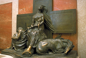 The Holy Family at Rest - the Flight of Egypt, Anna Hyatt Huntington (1876-1973), created in 1957. It was a gift to the Shrine by the artist in 1963. Basilica of the Nation Shrine of the Immaculate Conception, Washington D.C. used with permission