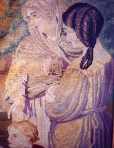 Picture of portion of Mother Caroline's tapestry that hangs at Notre Dame of Elm Grove, Elm Grove, Wisconsin.