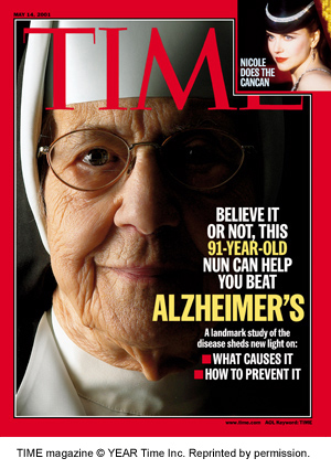 Cover of TIME Magazine featuring The Nun Study regarding Alzheimer's - May 14, 2001