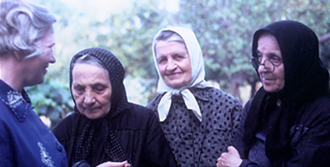 Mother Georgianne (at left) visiting with Sisters in Romania.