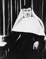 The picture of Mother Caroline holding a pen poised to write is also not authentic. The person pictured is S. Mary Xavier Baggeler who, we learn from oral tradition, looked somewhat like Mother Caroline did as a young sister; however, it is not certain whose face is shown.