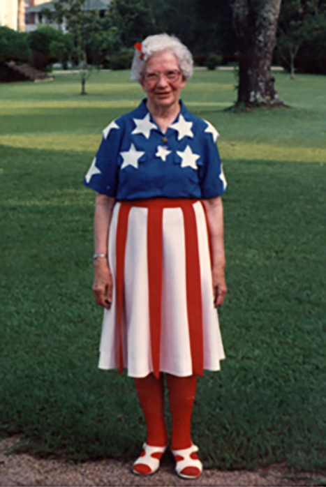 SSND Heritage Workshops often fell on July 4th. Mother Georgianne, SSND, dressed in her July 4th costume and celebrated the day with gusto.