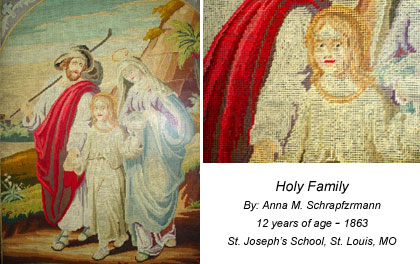 Image of needlework student. Title: Holy Family Student: Anna M. Schrapfzrmann 12 years of age - 1863 St. Joseph's School. St Louis, MO