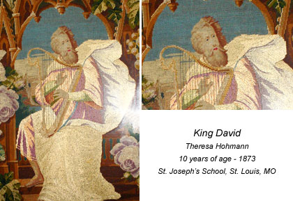 Image of needlework. Title: King David Student: Theresa Hohmann 10 years of age - 1873 St. Joseph's School. St Louis, MO