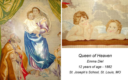 Image of needlework student. Title: Queen of Heaven Student: Emma Diel 12 years of age - 1882 St. Joseph's School. St Louis, MO