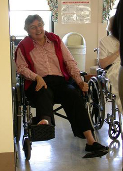 Sister Patricia Flynn, SSND, understand the temporary loss of mobility while in wheelchair.