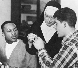 Sister Dolores Rauch with students.