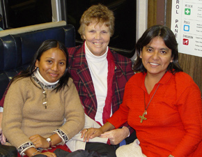 Yvonne Nosal, SSND (center) and Marleny Bardales, SSND (right) teach in Peru. Their student, Vanessa Juarez Arevalo (left), was a