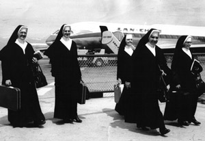 Sisters leaving for Chile are left to right: Sisters Mary Emmanuel Teehan, Mary Theodora VanBemmel (Provincial Councilors accompanying missionariies), Mary Simplicia (Mary Ann O'Connor), Maria Jose Tresch, M. Alejandro Ortiz (Maria Eugenia).