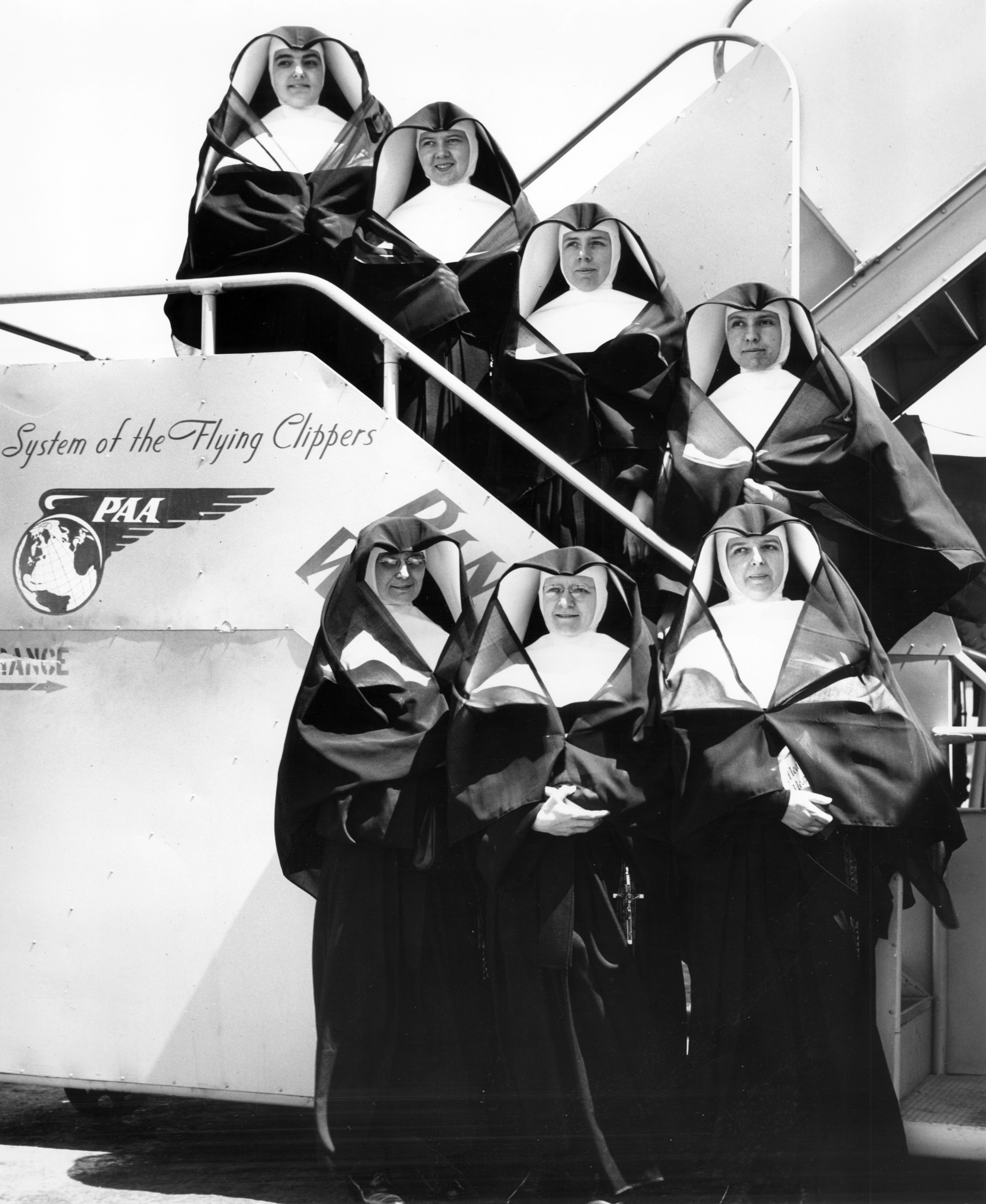 Sisters from Milwaukee leaving for Guam in 1949 are from top down: Sisters Mary Jean Francis Stenger, Aquina Curtin, Ardwin Shaw, Marie Jose Herbig, Carleen Roberts, Eric Militzer, Eucharita Luxem (First Superior).