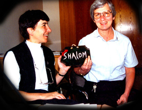 The first coordinators of the SHALOM Network were named May 31, 1995. <br />They were Sister Krisztina Vargacz, SSND, from Hungray (left) <br />and Margaret Mattare, SSND, from Baltimore.