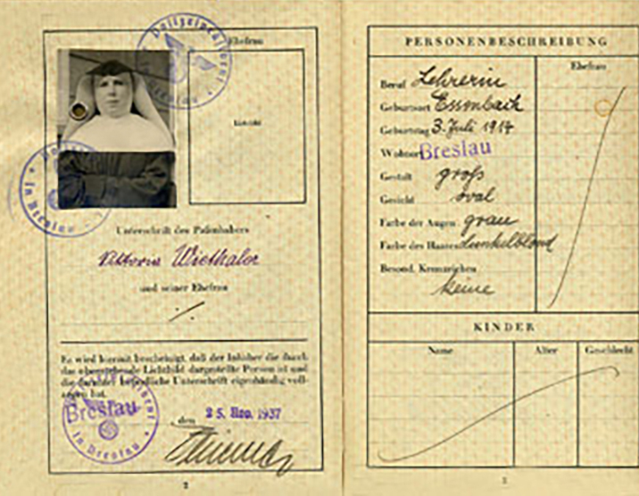 Sister Victoria Weithaler's 1938 passport is a graphic reminder of Nazi control of German citizens.